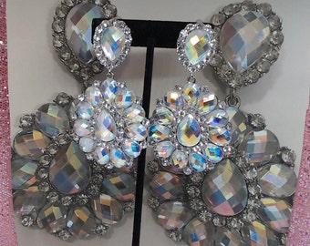 Auroura Crystal Oval Chandelier Earrings