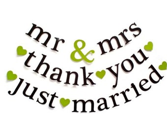 SHIPS PRIORITY.  3 Banners. mr & mrs Banner.  thank you.  just married.  Wedding Banner.  Wedding Decor.  Wedding Photo Prop.  5280 Bliss.