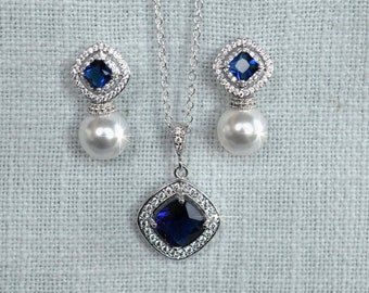 Your Choice Pearl Colour -- Sapphire Blue Princess Cut Square Cubic Zirconia CZ and Swarovski Pearl Necklace and Earrings Set (Pearl-885)
