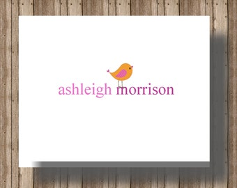 PERSONALIZED NOTECARDS for Women or Girls/ Simple and Sweet Boxed Set of Folded Notecards with Bird/ Set of 10 Personalized Stationery Cards