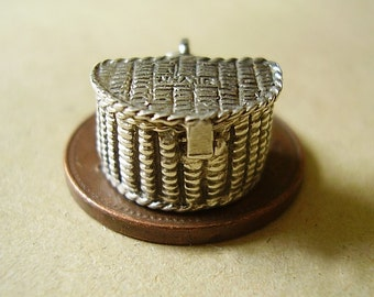 Sterling Silver Opening Fishing Creel Basket Charm