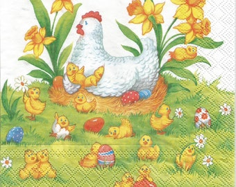 Easter decoupage paper napkins, 4 paper napkins for decoupage, Mother hen napkin, collage and mix media serviette, paper craft g364