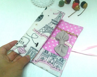 """Origami hair """"Paris"""", storage case for barrettes and elastics, Pocket folding to store hair accessories"""