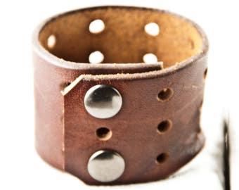Brown Leather Jewelry Plain Cuff Vintage Retro