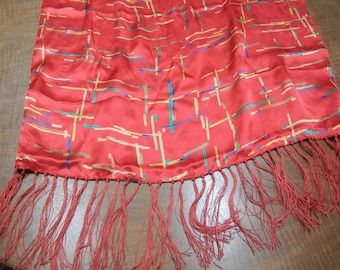 Vintage scarf -  long red silk scarf with fringes