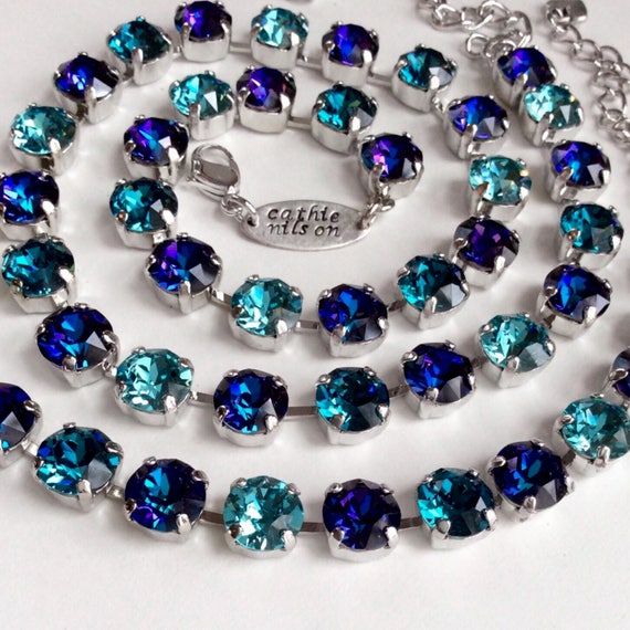 """Swarovski Crystal 8.5mm Necklace  """"Evening Sky""""  Gorgeous Heliotrope With Teal & Turquoise Accents   Designer Inspired - FREE SHIPPING"""