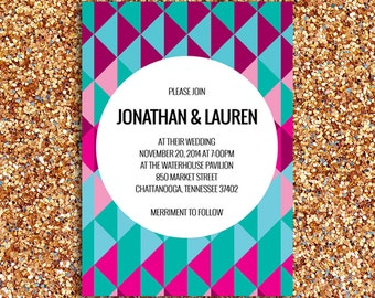 Modern and Geometric Wedding Invitation   Printed Paper Goods or Digital File