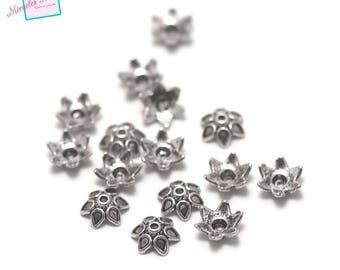 "50 bead caps ""six water droplets"", 10 x 4 mm"