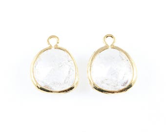 2pcs Clear Sparkle Glass Charm in Gold, Framed Drop Glass Bead / Birthstone / April / Crystal / 13mm x 16mm / GCLG-013-P