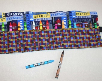SALE! Crayon Roll Up, Crayon Organizer, Gift Under 10, Child's Gift, No Ties Crayon Roll Up