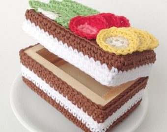 Box Crochet Cakes, Crochet Cupcakes, Knit Cakes, Knit Food, Jewelry Box
