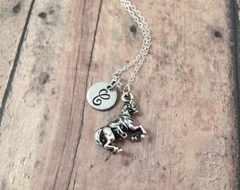 Arabian horse initial necklace - horse jewelry, equestrian jewelry, horse rider gift, equestrian necklace, silver Arabian horse pendant