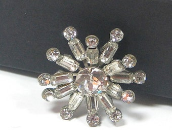 Vintage Rhinestone Brooch 1950s Bride Wedding Holidays
