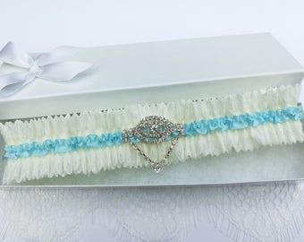 Rhinestone wedding garter, aqua blue wedding garter, rhinestone garter, bridal garter, something blue garter, crystal garter