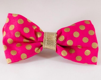 Valentine's Day Pink and Gold Polka Dot Dog Bow Tie