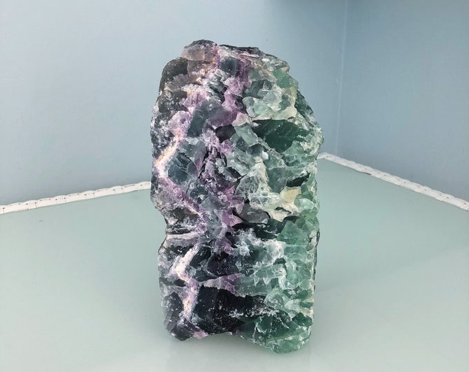 Large Green Fluorite, Rainbow Fluorite, Raw Fluorite Stone / Modern Home Decor /  Healing Crystals and Stones / Mothers Day Gift