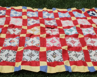 Vintage Quilt Top Red Scrappy Upcycle Project Farmhouse Quilt 1940's Quilt Blocks Top