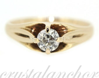 Antique 14k Yellow gold Natural round old mine cut Diamond solitaire ring .50ct