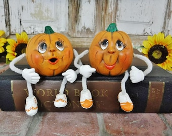 Pair Halloween Decoration/Ceramic Pumpkin Shelf Sitters/Fall Decor/Hand Painted Pumpkin Figurine Noggins/Vintage