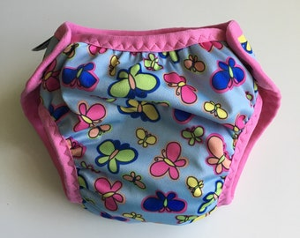 Cloth pull-up, potty learning pants, training pants, reusable pull-ups, one size fits most - approx. 15 months to 5 years, butterflies