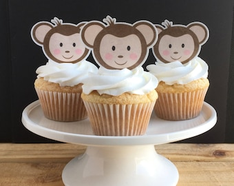 Monkey Cupcake Toppers, Thin Edible Paper Cupcake Topper, Wafer Paper, Food Safe, Read Item Details