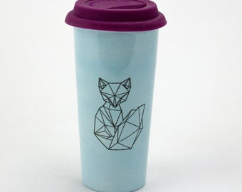 Large 20oz Hand Painted Travel Mug with Faceted Fox