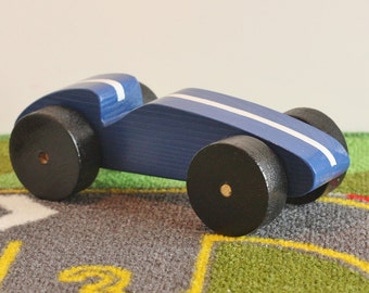 Toy Blue Race Car - Handcrafted Wooden Blue Toy Race Car with White Stripe and Black Wheels - Toy Race Car Blue with White Stripe