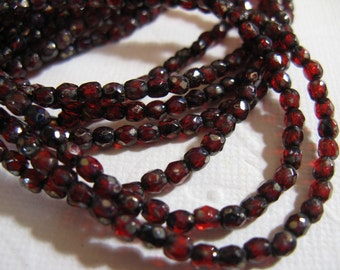 3mm Fire Polish Czech Glass Beads - Red Transparent Picasso - 50 beads