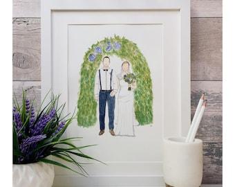 Bride and groom wedding portrait in watercolour. Personalised.