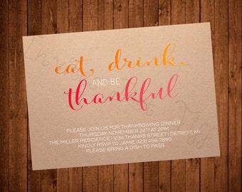 Modern Thanksgiving Invite (Printable)
