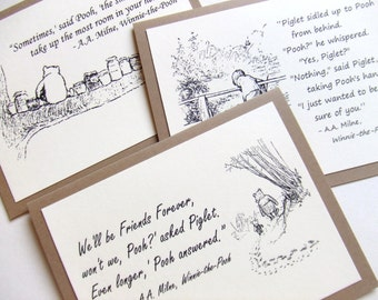 Sure of You Friends Forever Smallest Things Gift Set - Winnie the Pooh Quotes - Classic Piglet and Pooh Note Cards Cream On Kraft Brown