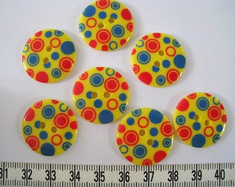15 pcs of  Graphic Bubble Printed  Button - 23mm Red and Blue on yellow