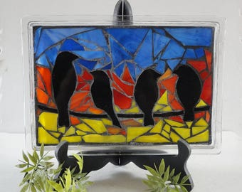 SALE, Stained Glass Mosaic, Glass Vanity Tray, Home Decor, Sculpture, Birds, Spring, Sunrise, Sunset,Original Art, Nature, Morning Bird Song