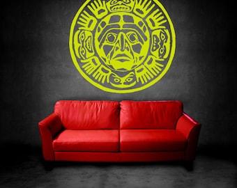 Wall  Vinyl Sticker Mural Tribal Mayan Calendar Aztec God Sun Moon Animals Year Date Room Decor Art ZX215