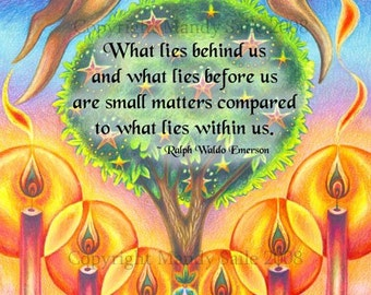 """What Lies Within - an 8 x 10"""" ART PRINT for those who love whimsical art of a magical rabbit leaping over giant candles with a magical tree"""