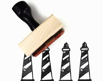 Lighthouse Stamp | Hand Drawn Cape Hatteras Rubber Stamp | Sunny Summer Stamps by Creatiate