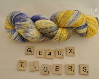 """Hand-dyed yarn, """"Geaux Tigers"""" variegated, soft and squishy yarn. Great for socks or shawls. 80/20 Superwash wool/Nylon"""