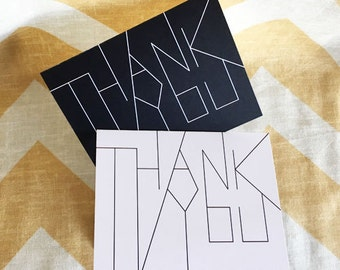 Modern Thank You Card Set - Black and White - Wedding thank yous - pack of 4 cards