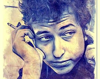 Bob Dylan Painted Watercolor Art print
