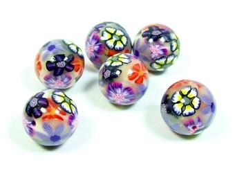 ON SALE NOW Flower Garden Round Handmade Polymer Clay Beads