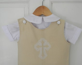 Linen Shortall Jon Jon Embroidered Cross Shortall Jon Jon Baptism Christening Dedication