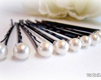 Bridal Hair Pins. Pearl Bridal Hair Pins. Simple Pearl Hair Pins. White Pearl Bobby Pins. Wedding Hair Pins. 10 Pearl Hair Pins. 6mm