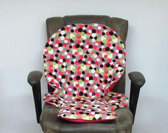 Graco Blossom or  Duo diner pink dots high chair pad baby accessory replacement pad, chair cushion, kids feeding chair nursery, dots on pink