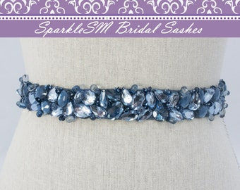 Jeweled Bridal Sash, Wedding Belt, Crystal Sash, Blue Bridal Sash, Rhinestone Sash, Beaded Bridal Belt Bridal Dress Sash Crystal Bridal Belt