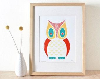 Owl Screenprint, Screenprint, Art Print, White