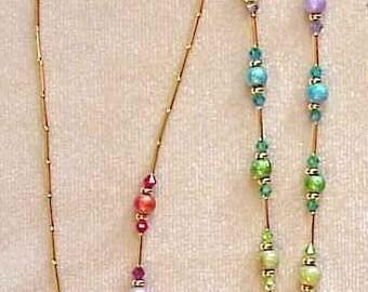 RAINBOW CRYSTAL handmade with  Swarovski Crystals Elements Eyeglass Chain Holder Silver or Gold