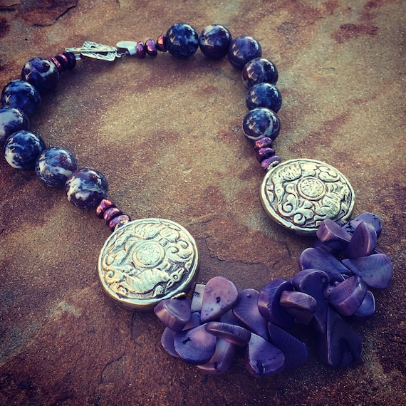 Purple Coral and Jasper Nepalese Silver Statement Necklace