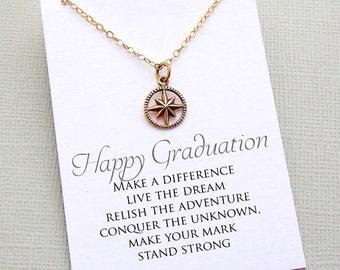 Graduation Gift   Class of 2018, Compass Necklace, Compass Rose, Wanderlust, Adventure, College Student Gift, 2018 Graduation, Nurse Gift G3