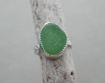 Kelly green genuine Sea Glass Sterling Silver Ring - bezel set - Eco Friendly Fashion -Size 7 US - Sea Stone Ring -Beach lover Jewelry