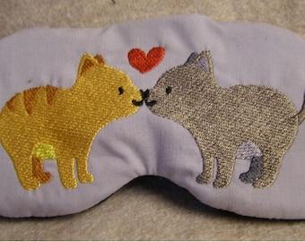 Embroidered Eye Mask for Sleeping, Cute Sleep Mask, Sleep Blindfold, Eye Shade, Slumber Mask, Cat Design, Kitty Design, Handmade